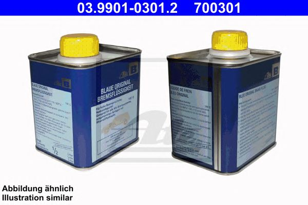 ATE 03.9901-0301.2, (desc) Líquido travões 1/2l Dot3 Azul B