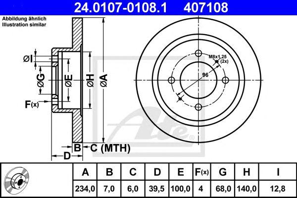 ATE 24.0107-0108.1, Disco de Travão Nissan 100 Nx (b13) (90-94) Tr