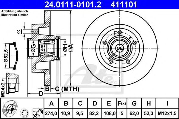 ATE 24.0111-0101.2, Disco de Travão Renault Laguna II 247mm 01-07 Tr