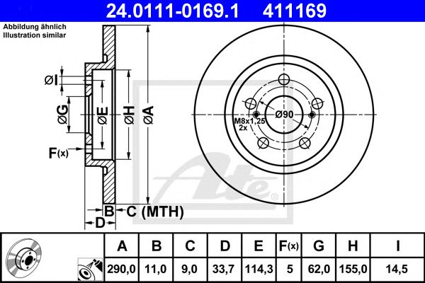 Disco de Travão Eixo traseiro Toyota Avensis (09-) 1.6 I 16v