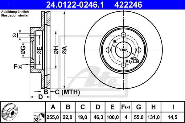 ATE 24.0122-0246.1, Disco de Travão Toyota Yaris 255mm 06- Ft