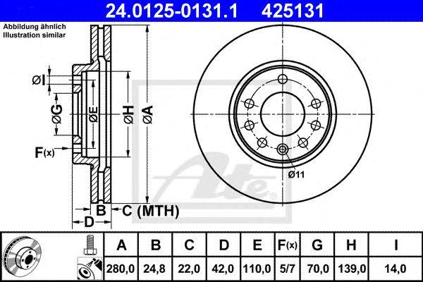 Disco de Travão Opel Astra G C/ Abs, H (5 Furos), Zafira
