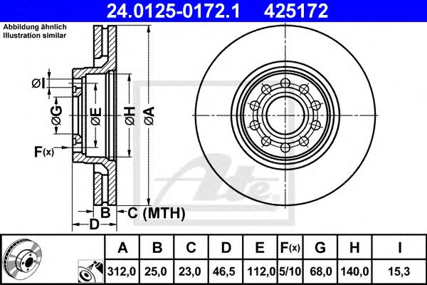 Disc Vag Passat/variant/superb 2.5tdi 312mm 08/96