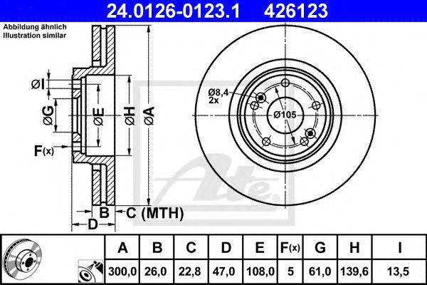 ATE 24.0126-0123.1, Disco de Travão Renault Laguna II 01- (300mm)ft