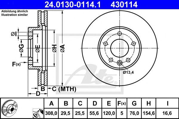 Disco de Travão VW Transporter/touareg 308mm 03- Ft