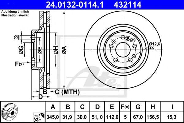 ATE 24.0132-0114.1, Disco de Travão MB W163 M Class 345 Mm Ft
