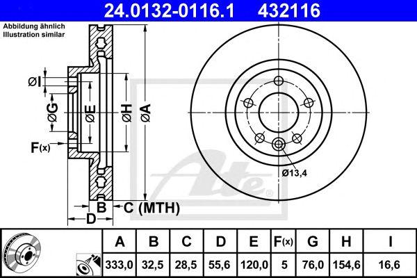 ATE 24.0132-0116.1, Disco de Travão VW Transporter 03- Eixo Dianteiro (333mm)