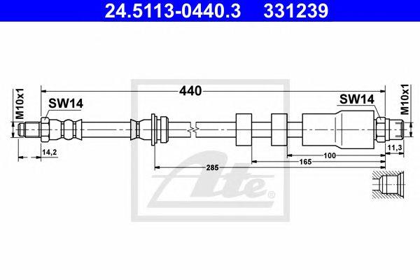 ATE 24.5113-0440.3, Tubo travão  BMW 3 Series/e90  (05-)ft