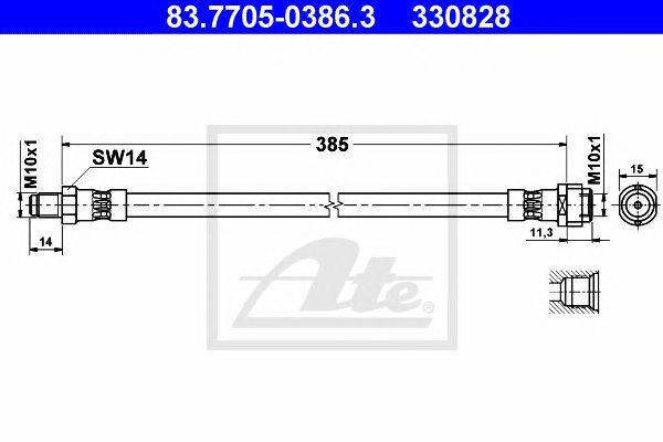 Tubo travão MB W202, 203, 210, R171 93-385mmft